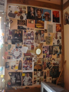 This is not junk.  This is an inspiration wall -- it's important to learn the difference.  This is for my 'Spark of Madness' novel.