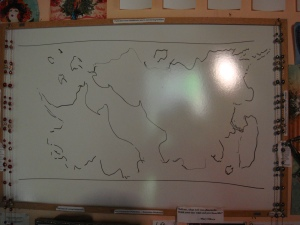 Great tip: look at maps then do a very loose, freeform outline.